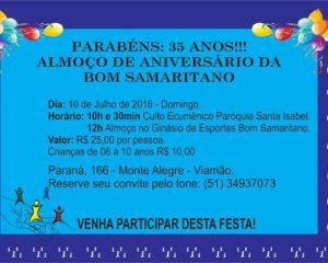 35 anos da Instituição de Educação Infantil e Assistência Social Bom Samaritano