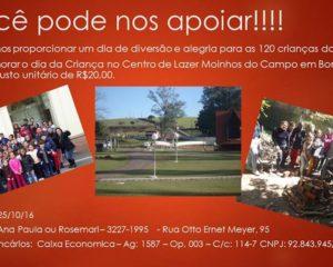 Ajude o CEDEL a levar 120 crianças no Centro de Lazer Moinhos do Campo