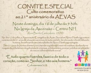 AEVAS celebra 21 anos de atuação neste domingo